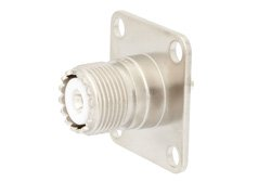 PE44719 - UHF Female Connector Field Replaceable Attachment 4 Hole Flange Slotted Contact Terminal, 1.24 Sq. Watt Meter Connector