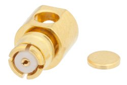 SMP Female Right Angle Connector Solder Attachment for PE-SR405AL, PE-SR405FL, PE-SR405FLJ, PE-SR405TN, RG405, Up To 8 GHz