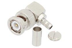 PE44843 - BNC Male Right Angle Connector Crimp/Solder Attachment For PE-C200 LMR-200
