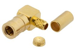 PE45162 - SSMB Plug Right Angle Connector Crimp/Solder Attachment for RG188-DS, RG316-DS