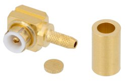 MMBX Plug Right Angle Snap-On Connector Crimp/Solder Attachment for RG178, RG196, With Male Center Contact
