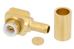 MMBX Plug Right Angle Snap-On Connector Crimp/Solder Attachment for RG316-DS, RG188-DS, With Male Center Contact