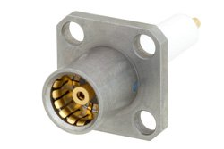 BMA Jack Slide-On Connector Solder Attachment 4 Hole Flange Mount Stub Terminal, .340 inch Hole Spacing