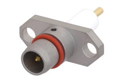 BMA Plug Slide-On Connector Solder Attachment 2 Hole Flange Mount Stub Terminal, .481 inch Hole Spacing, With Cylindrical Contact