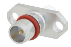 BMA Plug Slide-On Connector Solder Attachment 2 Hole Flange Mount Stub Terminal, .481 inch Hole Spacing, Rated to 18GHz