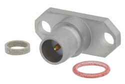 BMA Plug Slide-On Field Replaceable Connector With EMI Gasket 2 Hole Flange Mount .012 inch Pin, .481 inch Hole Spacing, With EMI Gasket