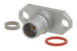 BMA Plug Slide-On Field Replaceable Connector With EMI Gasket 2 Hole Flange Mount .020 inch Pin, .481 inch Hole Spacing, With EMI Gasket
