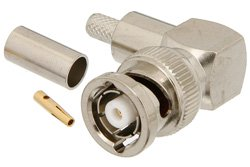 PE4730 - RP BNC Male Right Angle Connector Crimp/Solder Attachment For RG58
