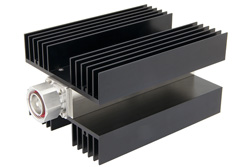 PE6197 - High Power 100 Watt RF Load Up to 3 GHz With 7/16 DIN Male Input Conduction Cooled Body Black Anodized Aluminum Heatsink
