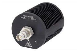 PE6208 - Medium Power 25 Watts RF Load Up To 18 GHz With TNC Female Input Round Body Black Anodized Aluminum Heatsink
