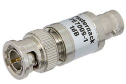 1 dB Fixed Attenuator, 75 Ohm BNC Male to 75 Ohm BNC Female Brass Nickel Body Rated to 1 Watt Up to 1,000 MHz