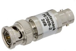 2 dB Fixed Attenuator, 75 Ohm BNC Male to 75 Ohm BNC Female Brass Nickel Body Rated to 1 Watt Up to 1,000 MHz