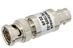20 dB Fixed Attenuator, 75 Ohm BNC Male to 75 Ohm BNC Female Brass Nickel Body Rated to 1 Watt Up to 1,000 MHz