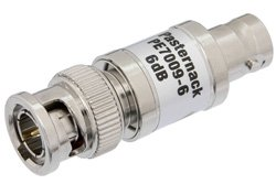 6 dB Fixed Attenuator, 75 Ohm BNC Male to 75 Ohm BNC Female Brass Nickel Body Rated to 1 Watt Up to 1,000 MHz
