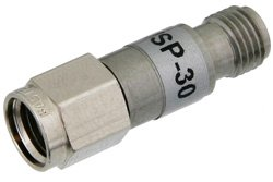 30 dB Fixed Attenuator, 2.92mm Male To 2.92mm Female Stainless Steel Body Rated To 2 Watts Up To 26.5 GHz