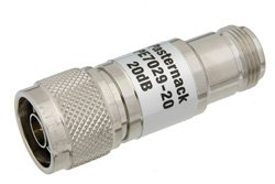 20 dB Fixed Attenuator, 75 Ohm N Male to 75 Ohm N Female Brass Nickel Body Rated to 1 Watt Up to 1,000 MHz