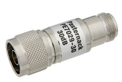 30 dB Fixed Attenuator, 75 Ohm N Male to 75 Ohm N Female Brass Nickel Body Rated to 1 Watt Up to 1,000 MHz