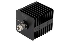 2 dB Fixed Attenuator, TNC Male to TNC Female Black Anodized Aluminum Heatsink Body Rated to 25 Watts Up to 18 GHz