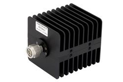 3 dB Fixed Attenuator, TNC Male to TNC Female Black Anodized Aluminum Heatsink Body Rated to 25 Watts Up to 18 GHz