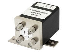 PE7152 - Transfer Electromechanical Relay Pulse Latching Switch, DC to 18 GHz, up to 85W, 24V, Indicators, Hot Switching, SMA