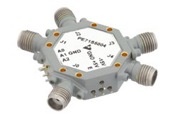 75 dB High Isolation SP4T PIN Diode Switch 6 GHz to 12 GHz, 2.5 dB Insertion Loss with SMA