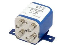 PE71S6067 - Transfer Electromechanical Relay Latching Switch DC to 18 GHz, SMA, 100 Watts, 30V Indicator, 28V Control with Indicators, Self Cut Off