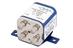PE71S6068 - Transfer Electromechanical Relay Latching Switch DC to 18 GHz, SMA, 100 Watts, 30V Indicator, 28V Control with Indicators, TTL, Self Cut Off