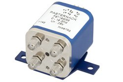 PE71S6069 - Transfer Electromechanical Relay Latching Switch DC to 18 GHz, SMA, 100 Watts, 30V Indicator, 28V Control with Indicators