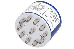 PE71S6076 - SP10T Electromechanical Relay Normally Open Switch DC to 18 GHz, SMA, 100 Watts, 28V Control
