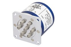PE71S6079 - SP6T Electromechanical Relay Latching Switch DC to 26.5 GHz, SMA, 40 Watts, 28V Control with Self Cut Off, Reset, Diodes