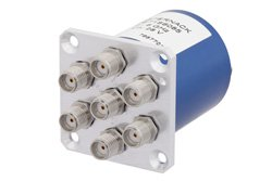 PE71S6085 - SP6T Electromechanical Relay Normally Open Switch DC to 6 GHz, SMA, 70 Watts, 28V Control