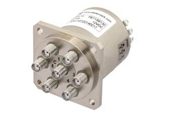 PE71S6130 - SP6T Electromechanical Relay Normally Open Switch DC to 22 GHz, SMA, 20 Watts, 12V Control