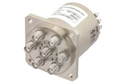 PE71S6131 - SP6T Electromechanical Relay Normally Open Switch DC to 22 GHz, SMA, 20 Watts, 28V Control