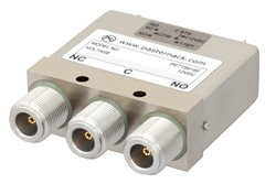 SPDT Electromechanical Relay Failsafe Switch, DC to 12.4 GHz, 160W, 12V Indicators, TTL, Diodes, N