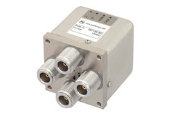 PE71S6180 - Transfer Electromechanical Relay Latching Switch DC to 12.4 GHz, N, 160 Watts, 12V Control with Indicators, TTL, Self Cut Off, Diodes