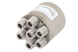 PE71S6186 - SP6T Electromechanical Relay Normally Open Switch DC to 10 GHz, N, 50 Watts, 12V Control
