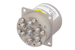 PE71S6310 - SP6T Electromechanical Relay Normally Open Switch, Terminated, DC to 22 GHz, 20W, 28V, SMA