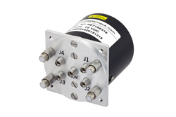 PE71S6319 - SP4T Electromechanical Relay Latching Switch, Terminated, DC to 40 GHz, 3W, 12V, Indicators, TTL, Self Cut Off, Diodes, 2.92mm