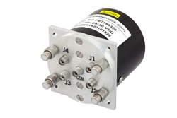 PE71S6320 - SP4T Electromechanical Relay Latching Switch, Terminated, DC to 40 GHz, 3W, 28V, Indicators, TTL, Self Cut Off, Diodes, 2.92mm