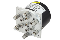 SP6T Electromechanical Relay Latching Switch, Terminated, DC to 40 GHz, 3W, 28V Self Cut Off, Indicators, Reset, 2.92mm