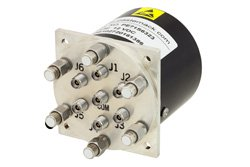 SP6T Electromechanical Relay Latching Switch, Terminated, DC to 40 GHz, 3W, 12V Self Cut Off, TTL, Indicators, Reset, 2.92mm