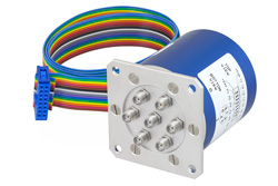 PE71S6339 - SP6T 0.03 dB Low Insertion Loss Repeatability Relay Latching Switch, Terminated, DC to 20 GHz, 70W, 24V, Indicators, Self Cut Off, TTL, SMA