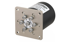 SP6T Electromechanical Relay Latching Switch, Terminated, DC to 26.5 GHz, up to 90W, 28V, SMA