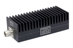 3 dB Fixed Attenuator, N Male To N Female Aluminum Heatsink Black Anodized Body Rated To 100 Watts Up To 3 GHz