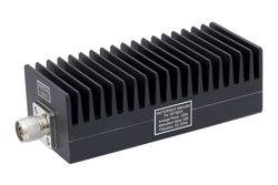 6 dB Fixed Attenuator, N Male To N Female Aluminum Heatsink Black Anodized Body Rated To 100 Watts Up To 3 GHz