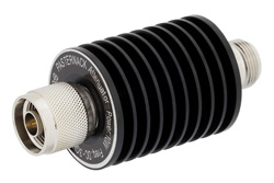 20 dB Fixed Attenuator, N Male To N Female Aluminum Heatsink Black Anodized Body Rated To 10 Watts Up To 3 GHz