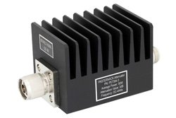 3 dB Fixed Attenuator, N Male To N Female Aluminum Heatsink Black Anodized Body Rated To 50 Watts Up To 4 GHz