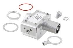 PE73SP1034 - 7/16 M/F In/Out Coax RF Surge Protector, 100MHz - 512MHz, DC Block, 750W, IP67, 20kA, Filter, Low PIM -155 dBc, Bracket Toward Body
