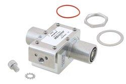 PE73SP1037 - 7/16 F/F In/Out Coax RF Surge Protector, 100MHz - 512MHz, DC Block, 750W, IP67, 20kA, Filter, Bracket Toward Body