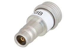 18 dB Fixed Attenuator, QN Male to QN Female Brass Tri-Metal Body Rated to 1 Watt Up to 3 GHz